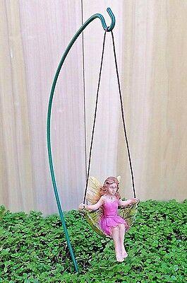 Miniature Dollhouse FAIRY GARDEN ~ Swinging Leaf Fairy Girl on Hook Pick ~ NEW - Garden Girls