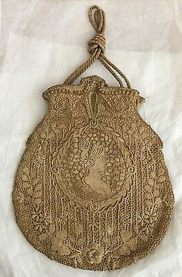 Antique Victorian Lady Portrait  Schiffli Lace Silk Hand Drawstring Bag