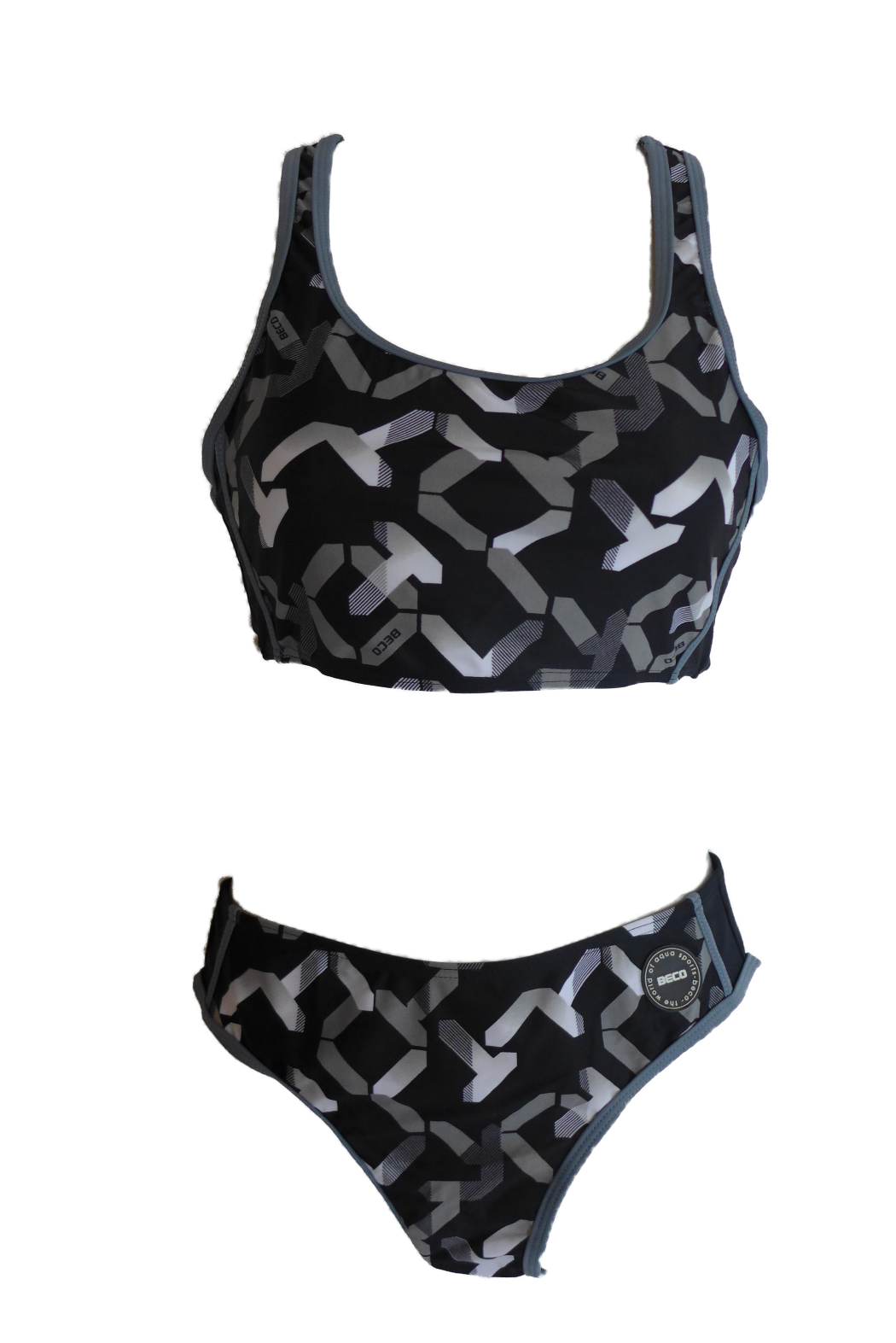 Damen Sport Bikini Schwarz/Grau/Weiß gemustert Gr. 36 38 40 42 44 46 NEU
