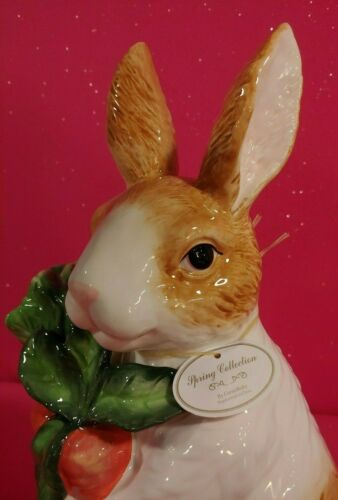 "CORNER RUBY EASTER LARGE 15"" CERAMIC ""SPRING COLLECTION"" BUNNY WITH VEGGIES NEW"