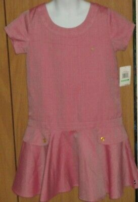 Nautica Girl's 8 Pink Chevron Drop Waist Polyester Rayon School Dress