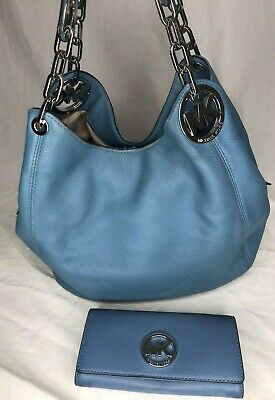 Michael Kors Fulton Sky Blue Pebble Leather Large Shoulder Hobo Purse & Wallet