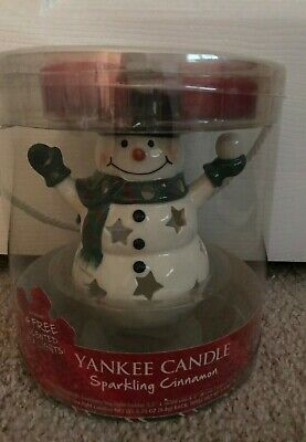Yankee Candle Snowman Sparkling Cinnamon Tealight Candle Holder Gift Box Set NEW