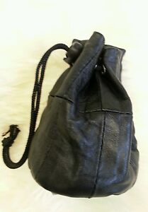 Leather Black Soft Leather Drawstring Wrist Pouch Coin Purse Change  lined.