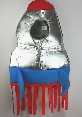 Rocket Ship Halloween Costume Kids Silver Fabric and Foam/Red & Blue 3-10 Year - Halloween Costumes Rocket Ship
