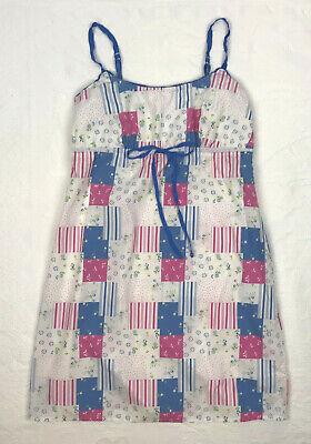 Gap Body Womens XS Baby Doll Night Gown Cotton Spaghetti Straps Patchwork - Gap Womens Robe