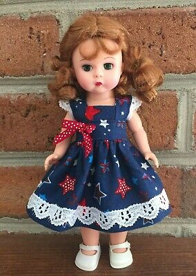 """Red White Blue Star Dress Bloomers for Ginny Muffie Madame Alex 8"""" Dolls"""