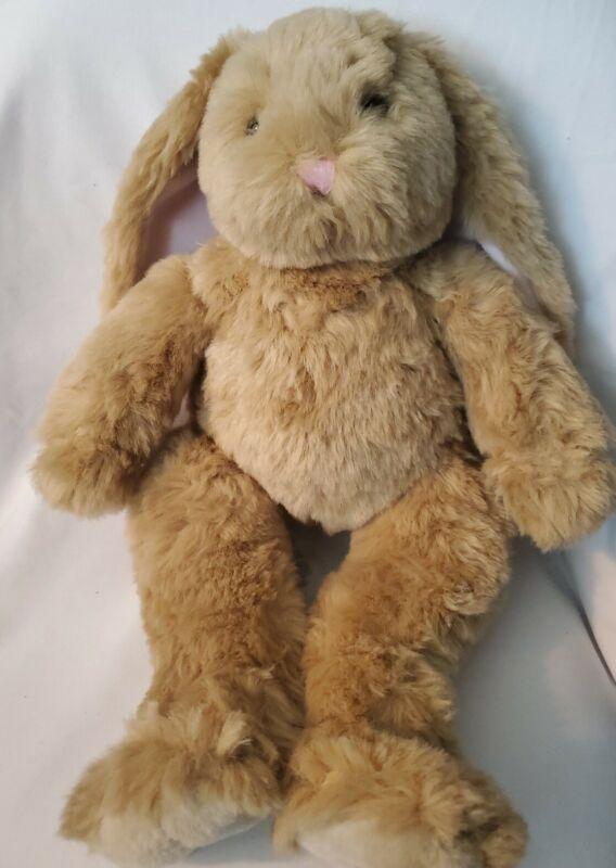 "Build A Bear Tan Bunny Rabbit Plush Pink Lop Eared White Tail 18"" BAB Workshop"