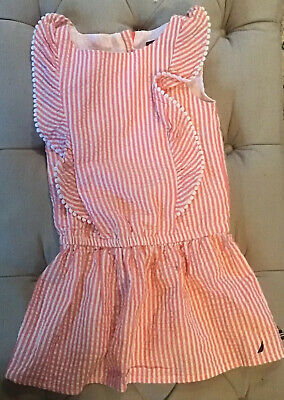 Infant Girl's Nautica Pink & White Stripe Drop-Waist Dress, 18 mo, New