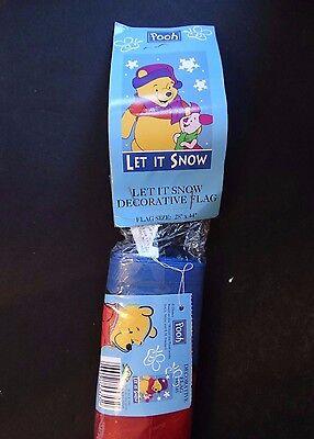 Disney Pooh and Piglet Decorative Outside Garden Flag ~ LET IT SNOW ~ 28x44 NIP