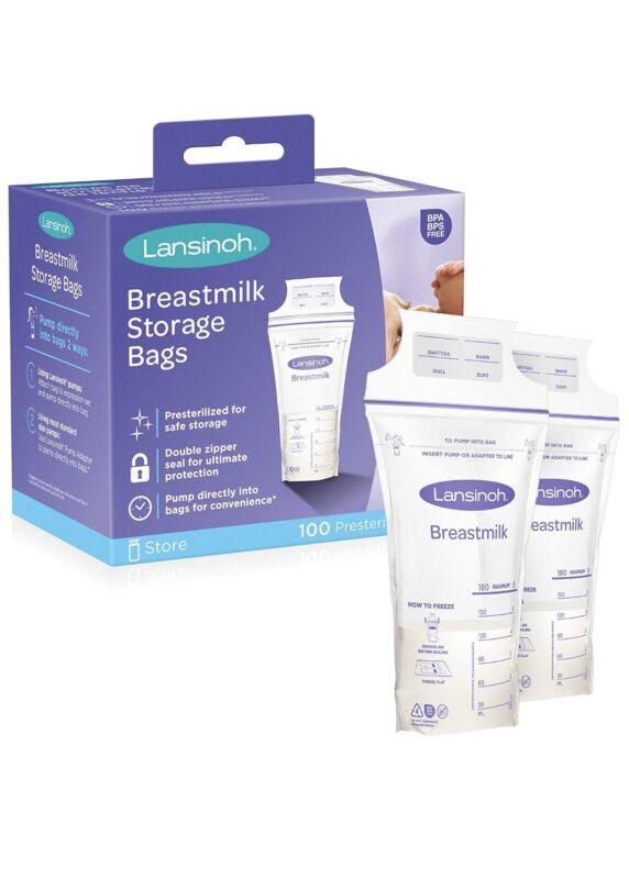 Lansinoh Breastmilk Storage Bags, 100 Pre-Sterlized Bags New