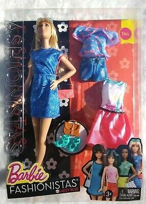 Barbie Fashionistas Lacey Blue #43 Tall With Extra Outfits - 2016 - NEW