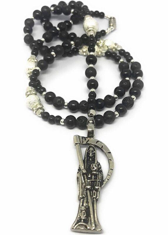 Holy Death'S Lava Stones Rosary. Rosario De La Santa Muerte Con Piedras Lava.