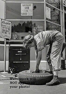 1943 Atlantic Gas Station PHOTO Oil Female Service Attendant Tires World War 2