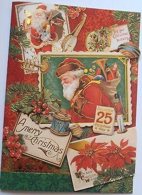 One  1  Punch Studio Large 3D Card Vintage Santa Poinsettia Toys Merry Christmas