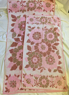 Vintage ST MICHAEL Set of 2 Pink Floral Hand Towel & Bath Towel