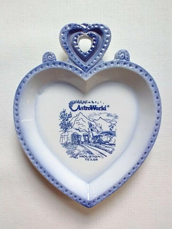 Vintage ASTROWORLD Houston Texas Heart Shaped Ceramic Tray Souvenir Ashtray