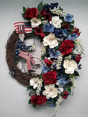Flower Door Wreath Patriotic USA Wreath 4th of July Summer Decor Rustic SALE