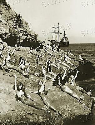 1920's MERMAIDS on the ROCKS Sea Nymph HOLLYWOOD Vintage PHOTO CANVAS Art PRINT