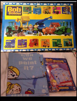 Bob the Builder Set. Wall Block Mount. Curtains & Bed Spread Doona