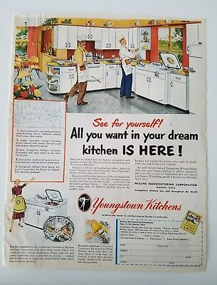 1952 retro Youngstown White kitchen steel cabinets male chefs ad