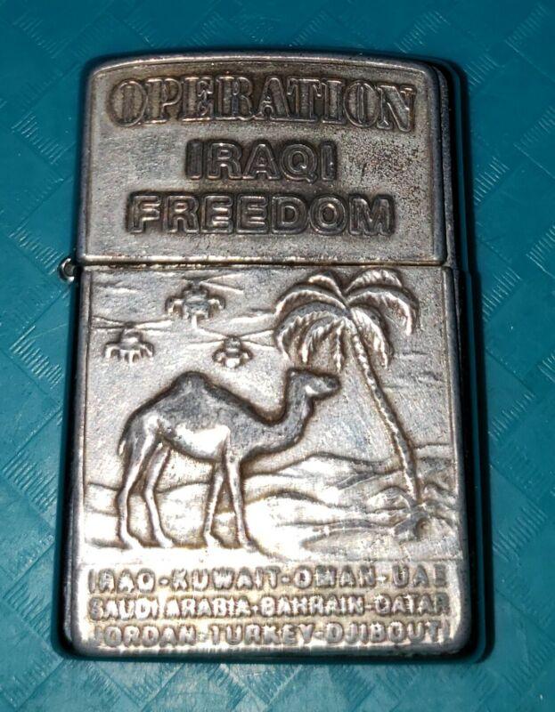 RARE 2003 OPERATION IRAQI FREEDOM ZIPPO LIGHTER-COPPER FACED (J) Ground shipping