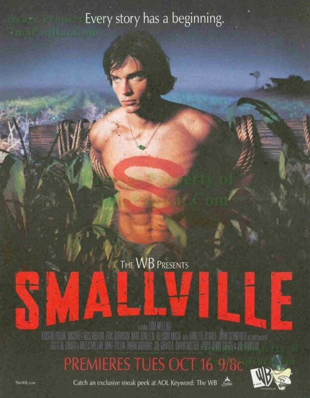 Smallville Series Premiere Clark Kent Sexy Shirtless Tom Welling 2-Page Print Ad