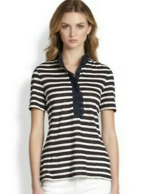 Tory Burch Lidia Polo Ruffle Top Striped Navy White Blouse Small TB Logo Buttons