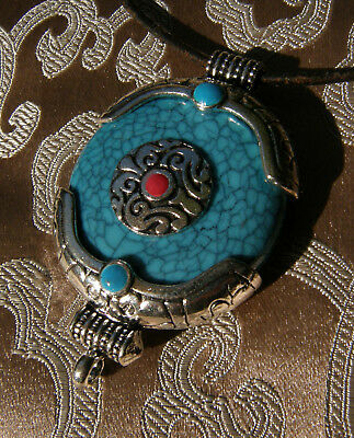 Great Large Tibetan Wooden Protection-Charm Gau from Nepal with Turquoise &