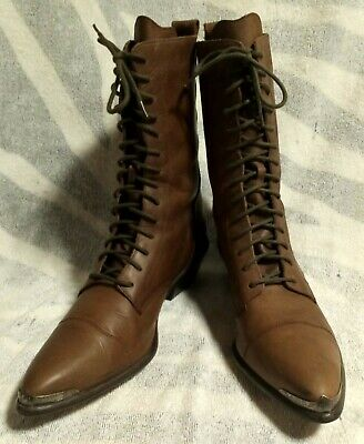 Women's ACME Rhianon Brown Leather Granny Lace Up Western Boots. Size 7.5