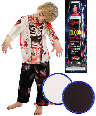 Boys Girls Zombie Monster Halloween Fancy Dress Costume Face Paint Fake Blood (Boys Halloween Face Paint)
