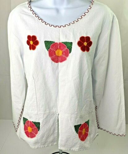 Creaciones Leo Mexican Handmade Floral Womens Embroidered Blouse Size Small NWT
