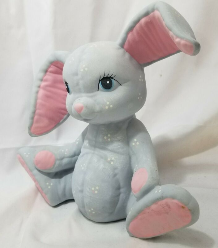 Easter Bunny Rabbit Hand Painted Ceramic Vintage Art gray pink