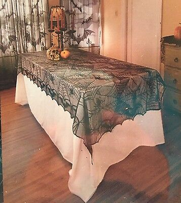 Gothic Black Lace Tablecloth Spider Web Bats Table Cloth Halloween Scary Spooky for sale  Shipping to India