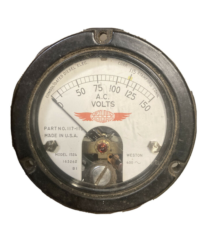 0-150 (115 VAC) Consolidated Diesel Electric AC Volt Meter Mod 1524 117-115 400~