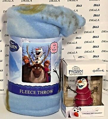 Disney's Frozen 2017 Olaf Christmas Tree Ornament & Anna & Olaf Fleece Throw NIP