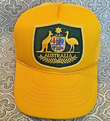 Australia Kangaroo Emu Logo Yellow Mesh Snapback Baseball Cap/Hat New -