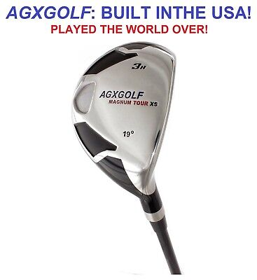 "AGXGOLF MENS TALL (+1.5"") INCH RIGHT HAND #3 HYBRID IRON wGRAPHITE STIFF FLEX"