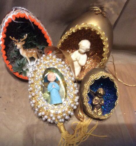 4 Vintage Handmade Christmas Ornaments- EGG  shape DIORAMA
