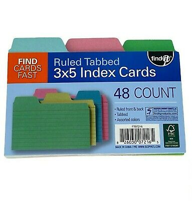Find-it Tabbed Index Cards 3 X 5 Inches Assorted Colors 48 Count Pack