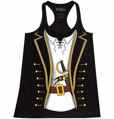 Pirate Buccaneer Costume Racerback Tank Top Funny Jolly Roger Crossbones Tee](Tank Costume)
