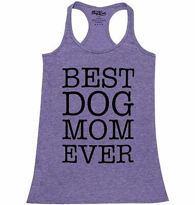Best Dog Mom Ever Blk Racerback Tank Top Fur Mama Rescue Mom Dog Lover