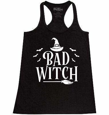 Best Halloween Custom (Bad Witch Wht Racerback Tank Top Funny Matching Best Friends Halloween)