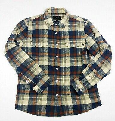 HUF Men's Flannel Shirt Long Sleeve  Plaid Blue Brown Beige Size Small EUC