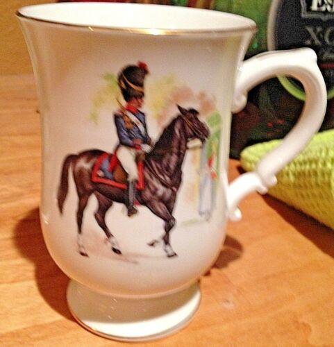 Crown Staffordshire China Cup Historic Blue Uniformed Soldier Blk Horse Military