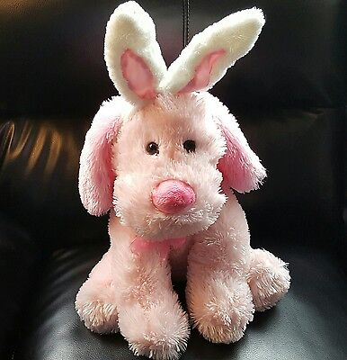 Pink Dog Plush with Easter Bunny Ears Floppy 18