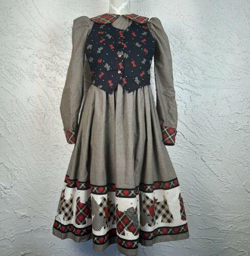 Vintage Daisy Kingdom Holiday Party Girls Size 14 Scottie Dog Plaid Dress