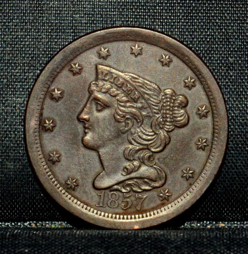 1857 BRAIDED HAIR HALF-CENT ✪ UNCIRCULATED DETAILS ✪ 1/2C CLEANED X23 ◢TRUSTED◣
