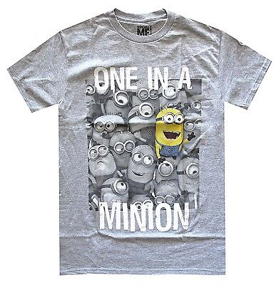 Despicable Me One In A Minion Grey Heather Men's T-Shirt New - One In A Minion Shirt