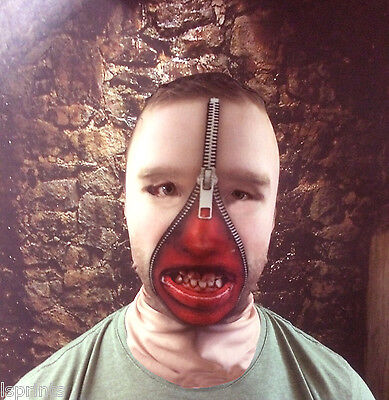 3D MAN ZIP FACE WITH TEETH EFFECT FACE SKIN LYCRA FABRIC FACE MASK HALLOWEEN